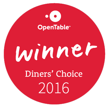Open Table 2016 Diner's Choice Award Winner